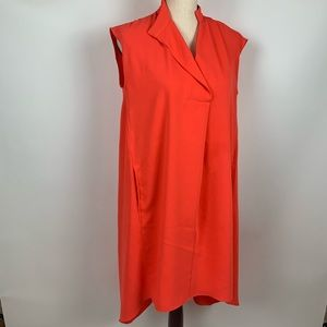 Rachel Roy Orange Coral Asymmetrical Dress Small